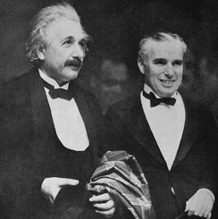 Charlie Chaplin with Albert Einstein at the premiere of City Lights