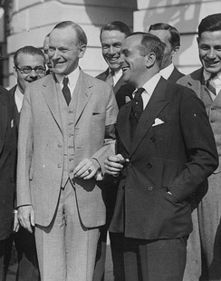 Jolson (right) with President Calvin Coolidge, 1924