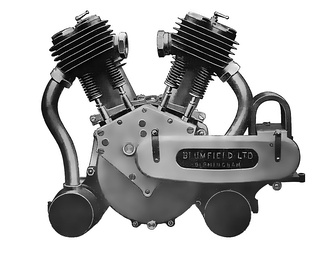 An early Vee engine - this is a two-cylinder V-twin used in an early British motorcycle