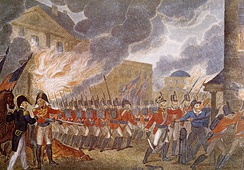 Following their victory at the Battle of Bladensburg, the British entered Washington, D.C., burning down buildings including the White House.
