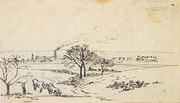 View from Upper Norwood, c. 1870, pen and brown ink over pencil on paper. Ashmolean Museum