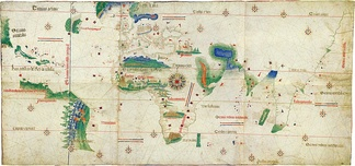 The Cantino planisphere of 1502 shows the line of the Treaty of Tordesillas.