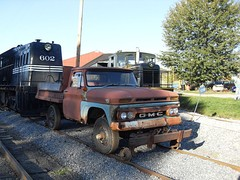 A 1966 GMC K1500 converted for railroad service in Pennsylvania.