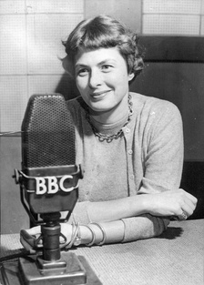 Swedish actress Ingrid Bergman being interviewed on BBC Radio in October 1954