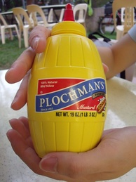 A bottle of American yellow mustard