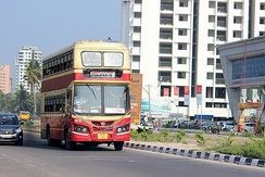 A KSRTC Double-decker bus in the city