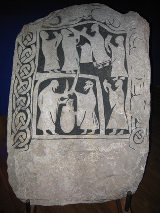 A drinking scene on an image stone from Gotland, in the Swedish Museum of National Antiquities in Stockholm.