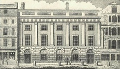 Pedestrian area separated from carriageway by six bollards in front of the East India House in London, 1766