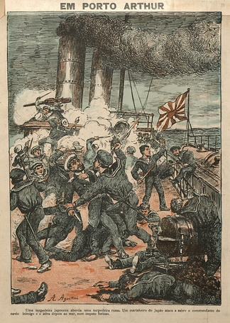 A Japanese torpedo boat approaches a Russian torpedo boat. A Japanese sailor attacks with a saber the commander of the enemy ship and then throws him to the sea in a furious impetus (Angelo Agostini, O Malho, 1904).