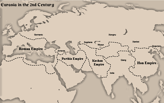 Map showing the four empires of Eurasia in the 2nd century AD