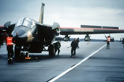 Ground crew prepares an F-111F of the 48th Tactical Fighter Wing for a retaliatory air strike on Libya.