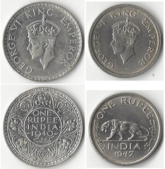 One rupee coins showing George VI, King-Emperor, 1940 (left) and just before India's independence in 1947 (right)[a]