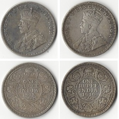 Silver one rupee coins used in India during the British Raj, showing George V, King-Emperor, 1913 (left) and 1919 (right)