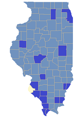 Dark Blue denotes a county carried by Howlett, and Light Blue by Walker.