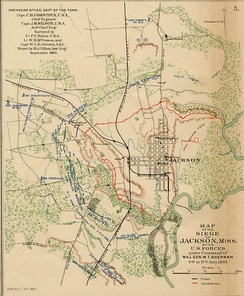 September 1863 map of the Siege of Jackson