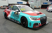 An Audi RS3 LMS TCR in the TCR Europe Series paddock