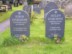 Graves of Osborne and his fifth wife in Clun churchyard