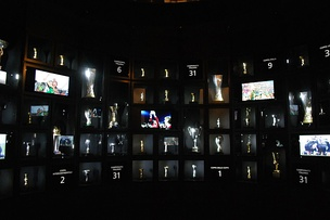 A partial view of the club's trophy room with the titles won between 1905 and 2013 at J-Museum