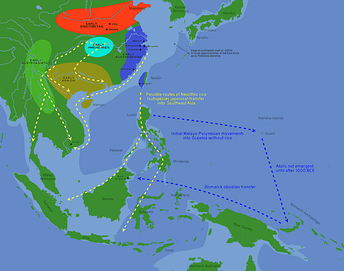 Likely routes of early rice transfer, and possible language family homelands (ca. 3,500 to 500 BC). The approximate coastlines during the early Holocene are shown in lighter blue. (Bellwood, 2011)[45]