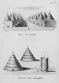 Illustration from 1854 of Lunda street and houses