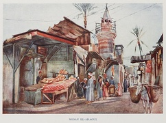 People on the Street of a Bazaar at Midan El-Adaoui from D.S. Margoliouth, Cairo, Jerusalem, & Damascus: three chief cities of the Egyptian Sultans, 1907