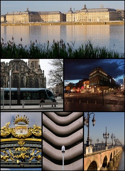 Clockwise from top: Place de la Bourse by the Garonne, Allées du Tourny and Maison de Vin, Pierre Bridge on the Garonne, Meriadeck Commercial Centre, front of Palais Rohan Hotel, and Saint-André Cathedral with the Bordeaux tramway
