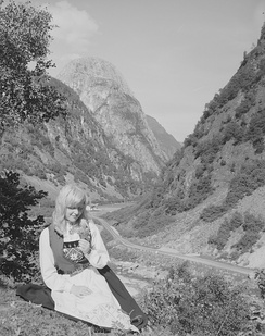 Ethnic woman in Norwegian local geographic environment at Voss near Gudvangen in 1959
