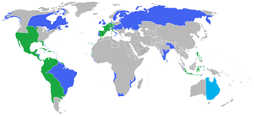 All the participants of the War of the Third Coalition. Blue: The Coalition and their colonies and allies. Green: The First French Empire, its protectorates, colonies and allies.