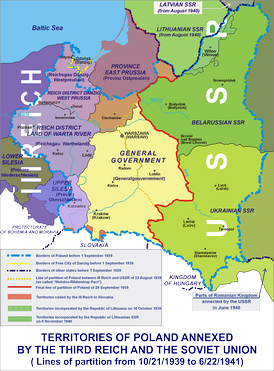The partition of Poland according to the German–Soviet Pact; division of Polish territories in the years 1939–1941