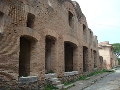 Remains of an Ancient Roman apartment block from the early 2nd century AD in Ostia