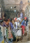 Vendors in the Covered Bazaar Istanbul by Vittorio Amadeo Preziosi,1851
