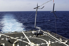 A ScanEagle is recovered at sea aboard the guided-missile destroyer USS Oscar Austin (DDG-79).