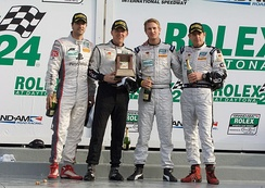 Hunter-Reay with his co-drivers at the 2010 Rolex 24 at Daytona.