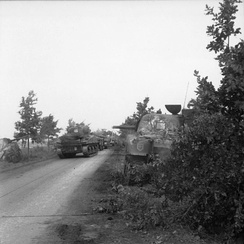 Irish Guards Sherman tanks advance past knocked out Shermans, 17 September 1944