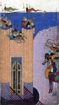 View of Alamut besieged. The last Grand Master of the Assassins at Alamut Imam Rukn al-Din Khurshah (1255–1256) was executed by Hulagu Khan after a devastating siege