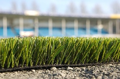 Side view of artificial turf