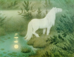 The Neck as a brook horse by Theodor Kittelsen, a depiction of the Neck as a white horse