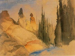 Thomas Moran painted Tower Creek while on the Hayden Geological Survey of 1871