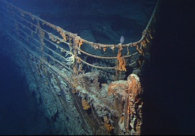 The bow of the wrecked Titanic, photographed in June 2004