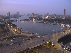 View of the 6th October Bridge and the Cairo skyline.