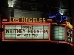 """We miss you"" message at the Los Angeles Theatre"
