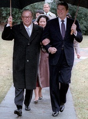 President Ronald Reagan walking with Premier Zhao Ziyang during his visit to the White House on 10 January 1984.