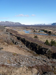 Rift zone in Þingvellir National Park, Iceland. The island is a sub-aerial part of the Mid-Atlantic Ridge