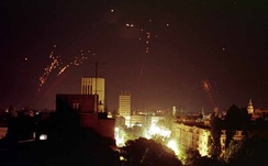 Yugoslav anti-aircraft fire at night