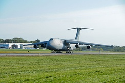 The last 105th Airlift Wing based C-5A Galaxy, tail number 0001, on take-off roll leaving its Hudson Valley home for the last time 19 September 2012.