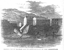 July 20, 1861 Harper's Weekly news illustration: rail cars destroyed by Mississipians at Harpers Ferry