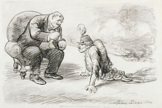 After the War a Medal and Maybe a Job, antiwar cartoon by John French Sloan, 1914