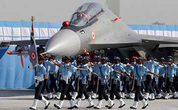 Airmen during Air Force Day celebration. The logo (roundel) of IAF can be seen on the aircraft.