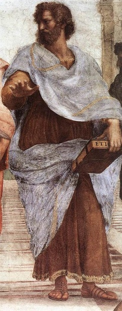 Aristotle, holding his Ethics detail from the Vatican fresco The School of Athens