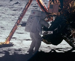 Neil Armstrong became the first human to land and walk on the Moon, July 1969.